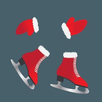 Patins et gants. chaussures pour sports d'hiver.