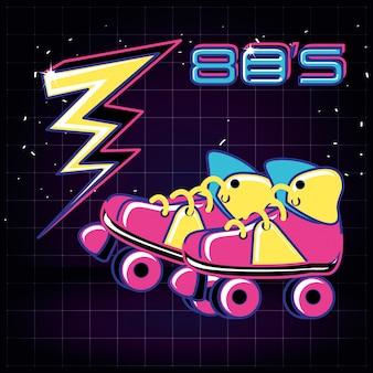 Patins à roulettes des années 80 rétro