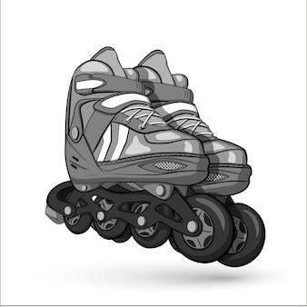 Patins à roulettes dessinés à la main. illustration sur blanc