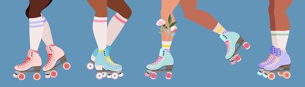 Patins à roulettes et jambes.