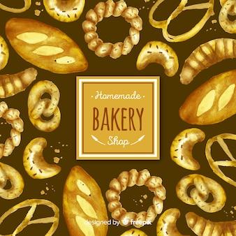 Pâtisserie aquarelle et fond de pain