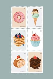 Pâtisserie mignonne et bonbons sur jeu de timbres-poste