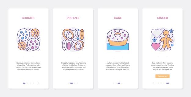 Pâtisserie, produits alimentaires de boulangerie café, ux, ensemble d'écran de page d'application mobile d'intégration de l'interface utilisateur