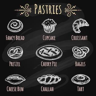 Pâtisseries dessinées à la main sur un tableau