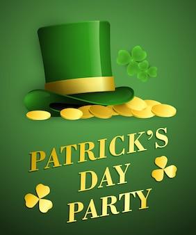 Patricks day fête conception de bannière verte