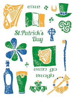 Patricks day symbol set in lino style
