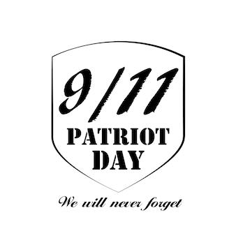 Patriot day l'étiquette 11 9 nous n'oublierons jamais l'illustration vectorielle eps10
