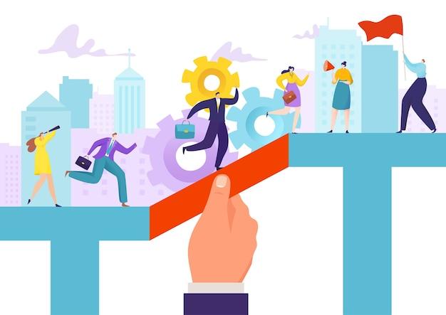 Le patron aide les gens à atteindre leurs objectifs commerciaux