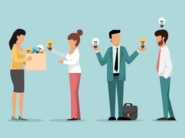 Patron aider les hommes d'affaires avec illustration ampoules idée.