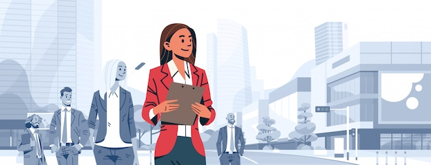 Patron de chef d'équipe femme d'affaires se démarquer bannière