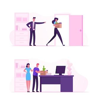 Patron en colère criant et pointant sur la porte au travailleur triste transportant ses effets personnels dans la boîte. illustration plate de dessin animé