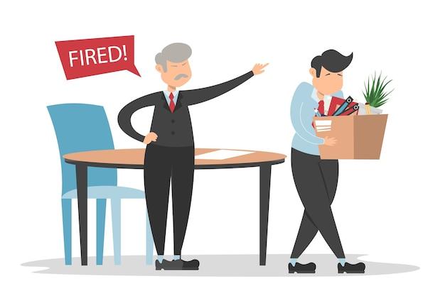 Patron en colère et employé licencié marche avec la boîte.