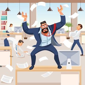 Un patron en colère hurle de chaos chez ses subordonnés