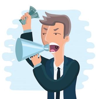 Patron en colère avec mégaphone