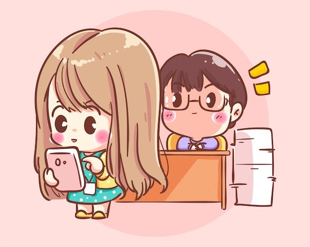 Patron et femme d'affaires dans l'illustration d'art de dessin animé de bureau vecteur premium