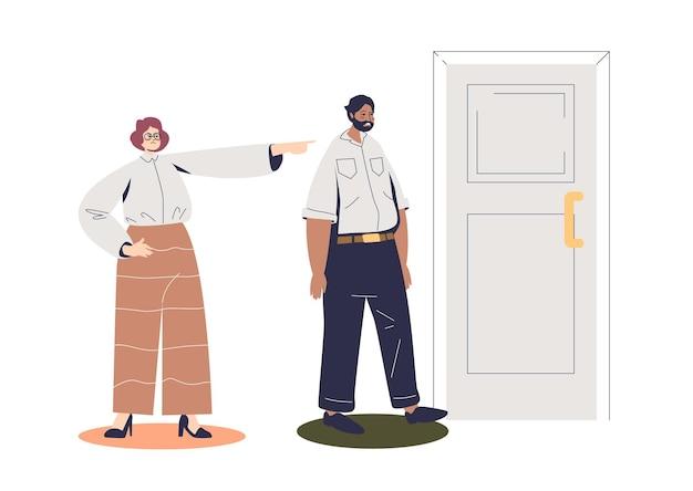 Patron de femme d'affaires pointant le doigt à l'illustration de la porte
