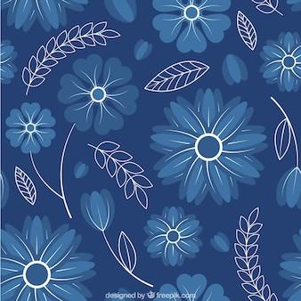 Patrón de lindas flores azules