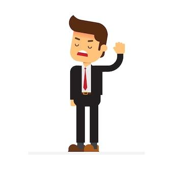 Patron strict en colère debout et rejetant quelque chose