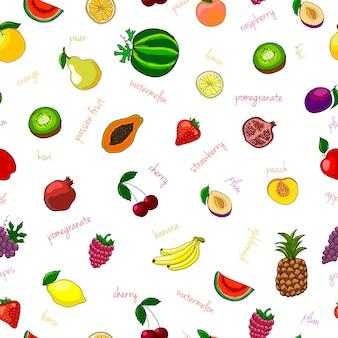 Patron transparent aux fruits frais avec une illustration vectorielle de kiwi et de grenat de pastèque aux poires
