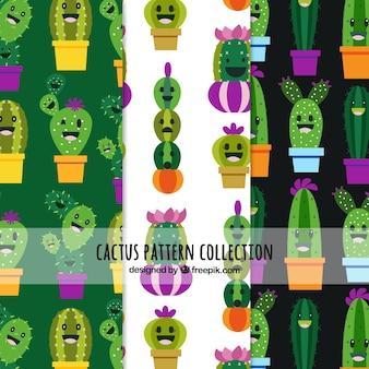 Patrons de cactus avec des visages drôles