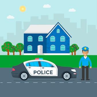 Patrouille de police sur une route avec voiture de police, officier, maison, paysage naturel. policier en uniforme, véhicule avec feux clignotants sur le toit. illustration vectorielle plane.