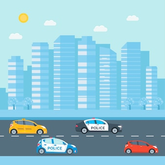 Patrouille de police sur une route avec voiture de police, officier, ville, paysage naturel. policier en uniforme, véhicule avec feux clignotants sur le toit. illustration vectorielle plane.