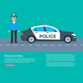 Patrouille de police sur une route avec voiture de police pour bannière, affiche, page web. policier en uniforme, véhicule avec feux clignotants sur le toit. illustration vectorielle plane.