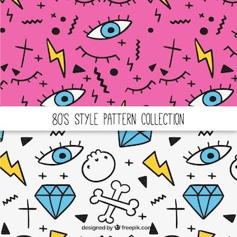 Patterns des années quatre-vingt avec des dessins