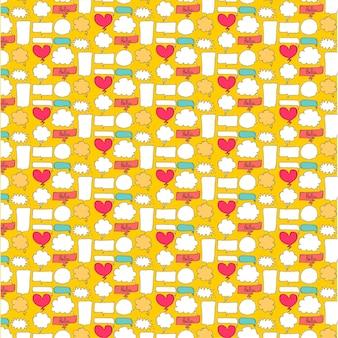 Patterns bubble cute avec fond jaune.
