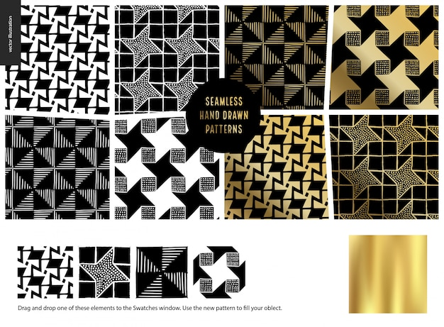 Patterns dessinés à la mainblack