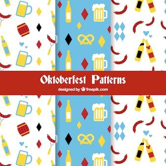 Patterns oktoberfest avec un design plat