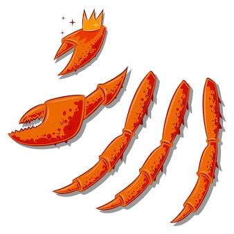 Pattes et griffes de crabe royal. illustration de dessin animé de vecteur de délices de la mer isolé