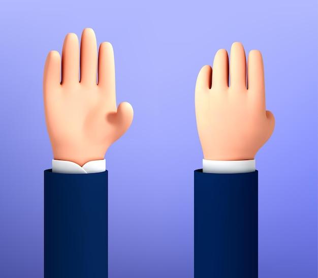 Paume ouverte de dessin animé de vecteur, geste de bonjour. cinq doigts, bonjour palm isolé sur fond bleu. geste de bonne volonté de la main de personnage de dessin animé