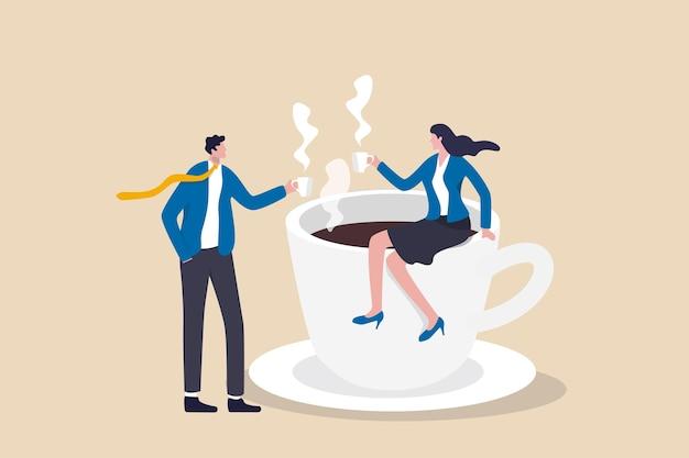 Pause café, concept de discussion d'entreprise.