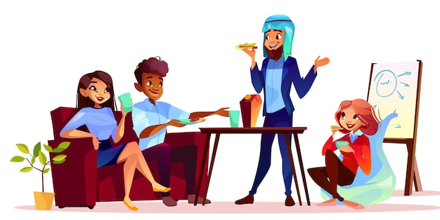 Pause café à l'illustration de la présentation. homme arabe traitant des invités avec de la nourriture et des boissons
