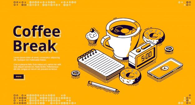 Pause café isométrique, bannière web