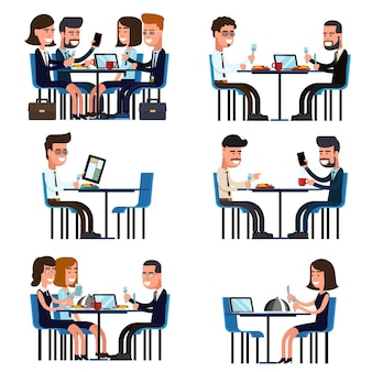 Pause déjeuner d'affaires. nourriture et réunion, collègue de gens assis, illustration vectorielle
