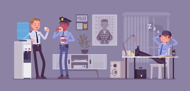 Pause déjeuner au poste de police