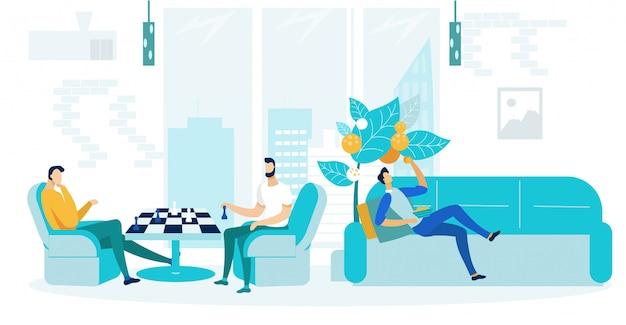 Pause du travail, loisirs plat vector illustration