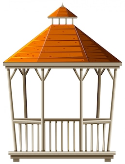 Pavillon en bois au toit orange