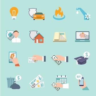 Pay factures taxes factures et vérifie les icônes ensemble plat illustration vectorielle isolée
