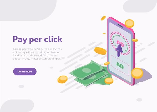 Pay per click landing page isométrique
