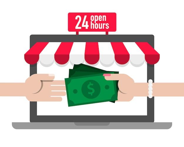 Payer de l'argent pour faire des achats en ligne boutique concept illustration vecteur