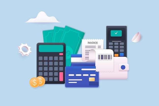 Payer les factures et les taxes factures cartes de crédit et calculatrice finances à domicile et taxes concept de paiements