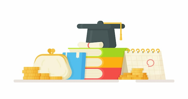 Payer les frais de scolarité. illustration du changement d'argent. apprentissage en ligne. faire tes devoirs.