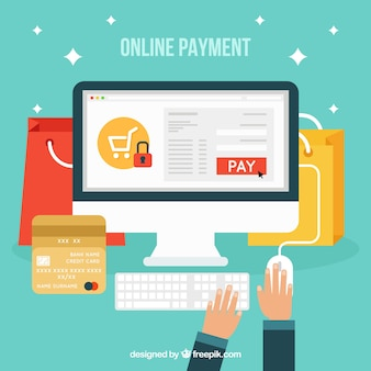 Payer en ligne, style plat