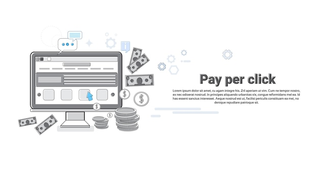 Payer par horloge en ligne de paiement web banner vector illustration