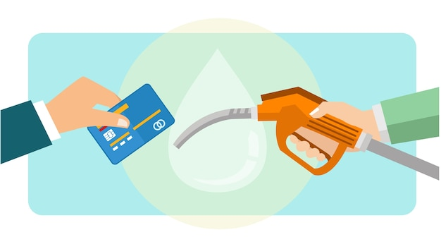Payez l'essence à l'aide d'une carte de débit et de crédit