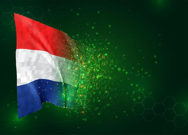 Pays-bas, drapeau 3d sur fond vert avec des polygones