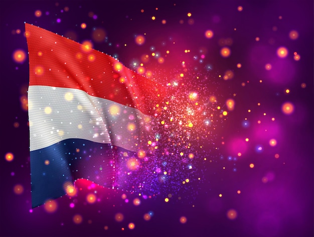 Pays-bas, drapeau 3d sur fond violet rose avec éclairage et fusées éclairantes